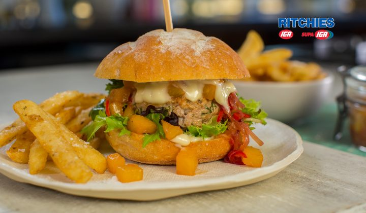 pork burger with fresh pineapple chilli chutney