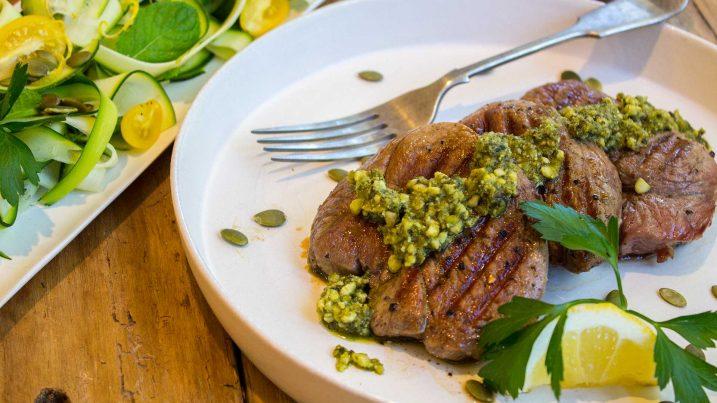 lamb pesto with lemon zucchini salad