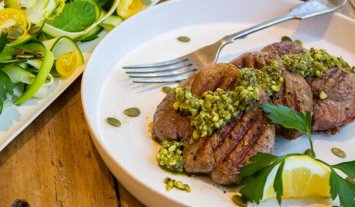 lamb pesto with lemon zucchini salad