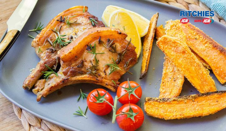 lemon rosemary pork cutlets with sweet potato wedges