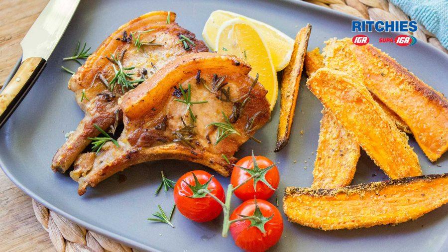 lemon rosemary pork cutlets with sweet potato wedges