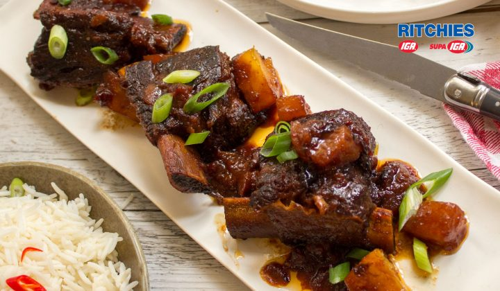 Hawaiian style beef short ribs
