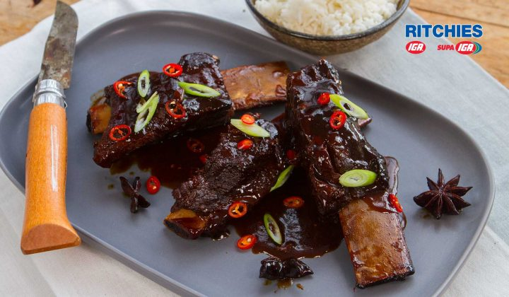 Slow cooked beef ribs with chilli plum sauce