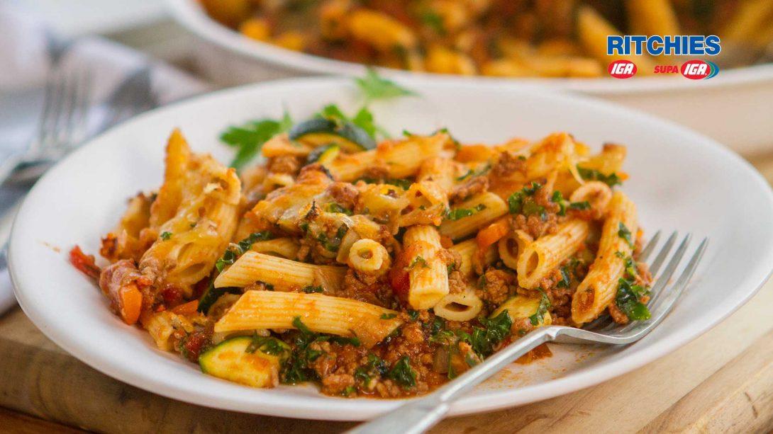 7 vegetable beef pasta bake