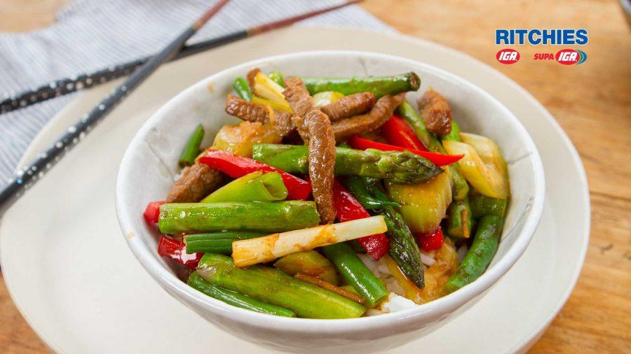 beef soy asparagus stir-fry