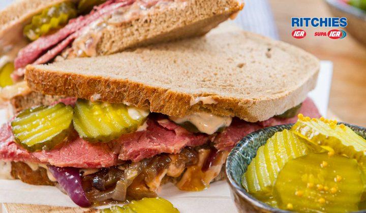 Corned beef caramelised onion pickle sandwich