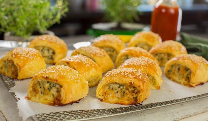 chicken cheese chive sausage rolls