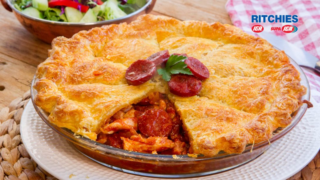 chicken chorizo salsa pie