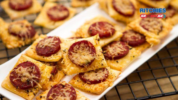 chorizo Parmesan squares