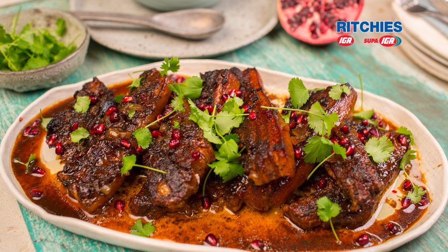 pomegranate braised pork spare ribs
