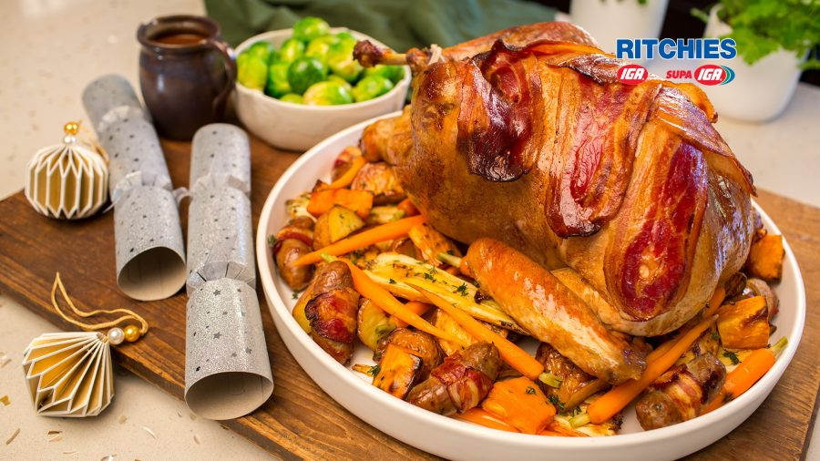 roast brined turkey with pork lemon and herb stuffing