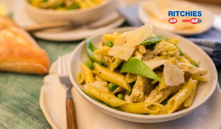 chicken pea pesto pasta