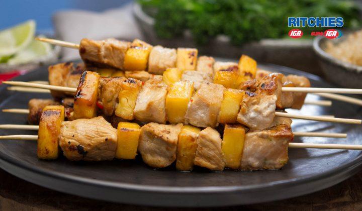 Hawaiian style pork pineapple skewers