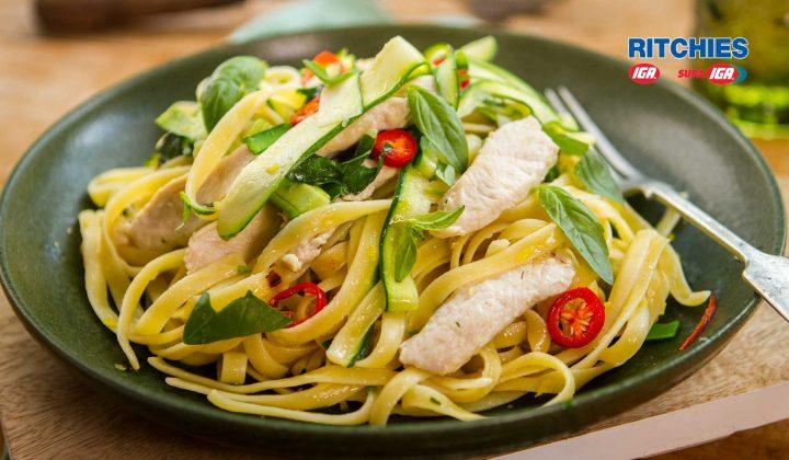 chicken lemon zucchini fettuccine