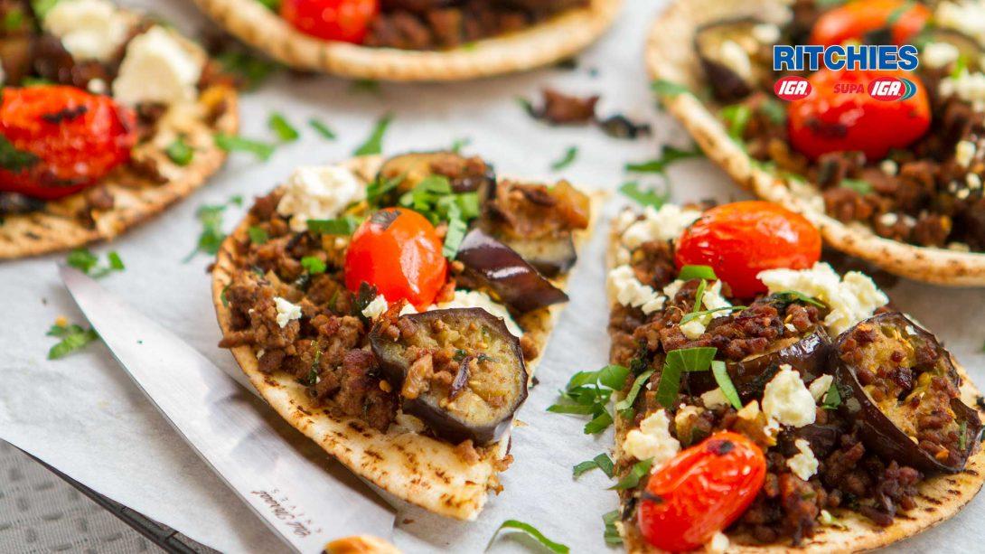 Moroccan lamb eggplant feta flatbread