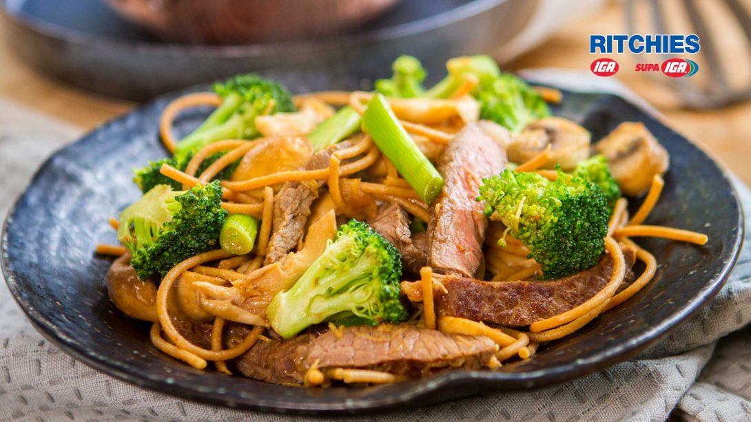 steak miso broccoli stir-fry