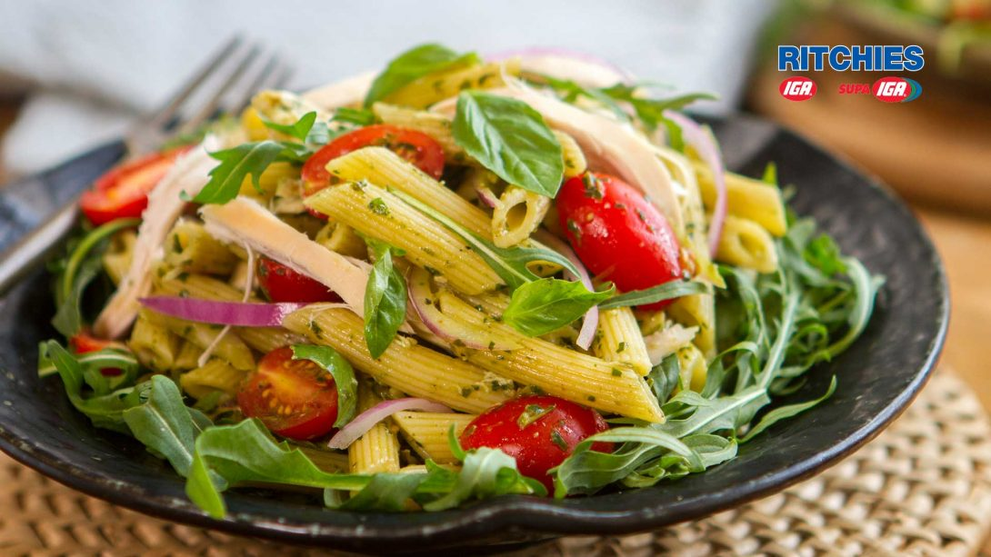 chicken pesto tomato pasta salad