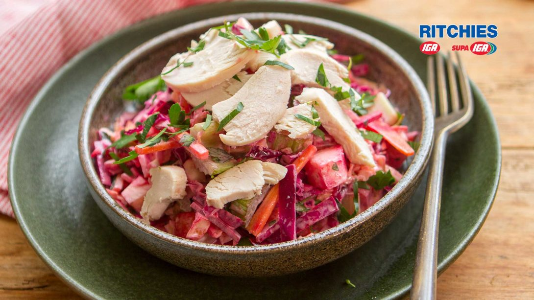chicken beetroot slaw