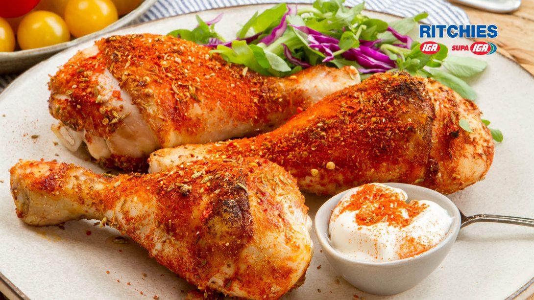 chicken drumsticks with smoky spice rub